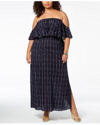 26a72d5b2704cb Soprano - Trendy Plus Size Printed Off-the-shoulder Maxi Dress - Lyst