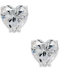 Arabella - Swarovski Zirconia Heart Stud Earrings In 14k White Gold - Lyst