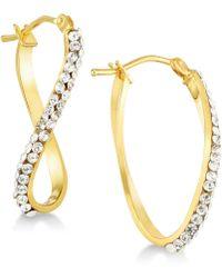 Macy's - Swarovski Crystal Twist Hoop Earrings In 14k Gold & White Gold - Lyst