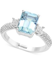 Effy Collection - Aquamarine (2-1/4 Ct. T.w.) & Diamond (3/8 Ct. T.w.) Ring In 18k White Gold - Lyst