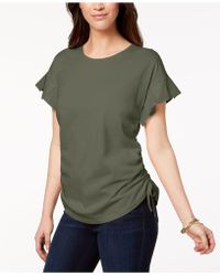 Style & Co. - Cotton Pleated Ruched T-shirt, Created For Macy's - Lyst