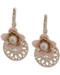 Ivanka Trump - Gold-tone Imitation Pearl & Flower Drop Earrings - Lyst