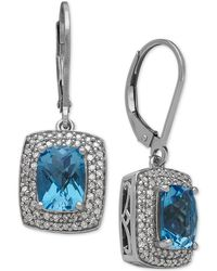 Macy's | Swiss Blue Topaz (3-1/8 Ct. T.w.) And Diamond (1/3 Ct. T.w.) Drop Earrings In Sterling Silver | Lyst