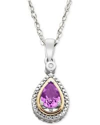 Macy's - Sterling Silver And 14k Gold Necklace, Amethyst (5/8 Ct. T.w.) And Diamond Accent Pendant - Lyst