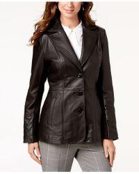 Jones New York - Petite Leather Blazer Coat - Lyst