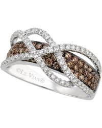 Le Vian | Chocolate And White Diamond Crossover Ring In 14k White Gold (1-1/10 Ct. T.w.) | Lyst