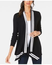 INC International Concepts - I.n.c. Petite Stripe-trim Draped Cardigan, Created For Macy's - Lyst