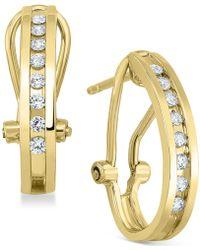 Macy's - Diamond J-hoop Earrings (1/4 Ct. T.w.) In Sterling Silver Or 14k Gold-plated Sterling Silver - Lyst