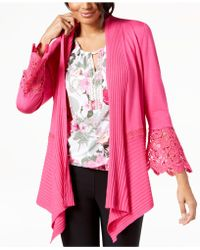 INC International Concepts - I.n.c. Petite Lace-detail Cozy Open-front Cardigan, Created For Macy's - Lyst