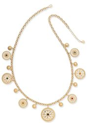 Charter Club - Gold-tone Colored Stone & Disc Long Charm Necklace - Lyst