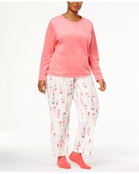 Hue - Plus Size Sueded Fleece Top & Printed Trousers With Socks Pyjama Set - Lyst