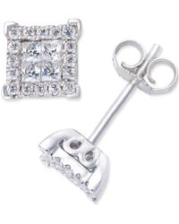 Macy's - Diamond Stud Earrings (1/4 Ct. T.w.) In 14k White Gold - Lyst