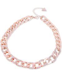 "Guess - Pavé Link Collar Necklace, 16"" + 2"" Extender - Lyst"