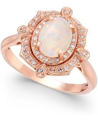 Effy Collection - Opal (5/8 Ct. T.w.) And Diamond (1/6 Ct. T.w.) Oval Ring In 14k Rose Gold - Lyst