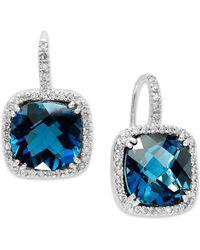 Macy's - 14k White Gold Earrings, London Blue Topaz (10 Ct. T.w.) And Diamond (1/3 Ct. T.w.) Leverback Earrings - Lyst