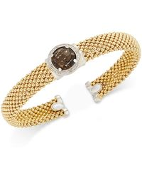 Macy's - Smoky Quartz (3-3/8 Ct. T.w.) And Diamond (1/5 Ct. T.w.) Popcorn Mesh Bangle Bracelet In 14k Gold-plated Sterling Silver - Lyst