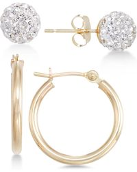 Macy's - 2-pc. Set Crystal Fireball Stud And Polished Hoop Earrings In 10k Gold - Lyst