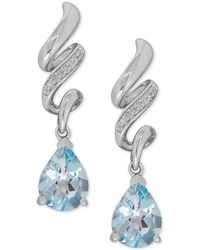 Macy's - Aquamarine (1-7/8 Ct. T.w.) And Diamond Accent Twist Drop Earrings In Sterling Silver - Lyst
