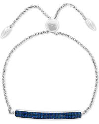 Effy Collection - Effy® Sapphire Cluster Bolo Bracelet (1-1/10 Ct. T.w.) In Sterling Silver - Lyst