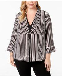 Alfani - Plus Size Striped Robe Blazer, Created For Macy's - Lyst