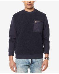 Sean John - Men's Colorblocked Mixed-media Sweatshirt - Lyst