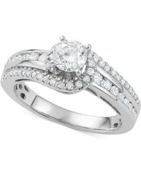 Macy's - Diamond Twist Engagement Ring (1-1/7 Ct. T.w.) In 14k White Gold - Lyst