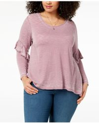 Style & Co. - Plus Size Burnout Ruffled-sleeve Top, Created For Macy's - Lyst