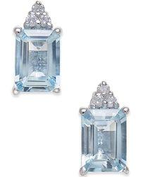 Macy's - Aquamarine (2 Ct. T.w.) & Diamond Accent Stud Earrings In 14k White Gold - Lyst