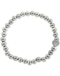 Giani Bernini - Cubic Zirconia Pavé Heart Beaded Stretch Bracelet In Sterling Silver, Created For Macy's - Lyst