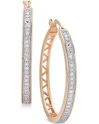 Macy's - Diamond Openwork Hoop Earrings (1/4 Ct. T.w.) - Lyst