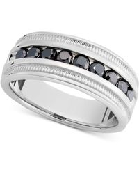 Macy's - Men's Sterling Silver Ring, Black Diamond Band (1 Ct. T.w.) - Lyst