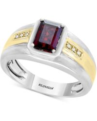 Effy Collection - Men's Garnet (1-3/4 Ct. T.w.) & Diamond Accent Ring In Sterling Silver And 18k Gold - Lyst