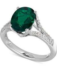 Macy's - Lab-created Emerald (2-1/2 Ct. T.w.) And White Sapphire (1/5 Ct. T.w.) Ring In Sterling Silver - Lyst