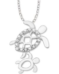 """Macy's - Diamond Mother & Child Turtle 18"""" Pendant Necklace (1/10 Ct. T.w.) In Sterling Silver - Lyst"""