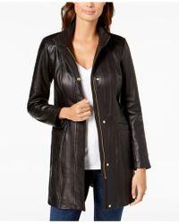 Cole Haan - Petite Leather Moto Jacket - Lyst