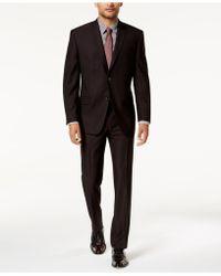 Marc New York - Modern-fit Stretch Burgundy Solid Suit - Lyst