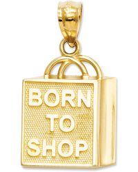 """Macy's - 14k Gold Charm, """"born To Shop"""" Shopping Bag Charm - Lyst"""