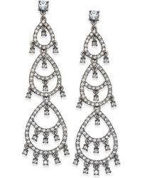 INC International Concepts - Silver-tone Crystal Pavé Dangle Drop Earrings - Lyst