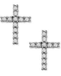 Macy's - 14k White Gold Earrings, Diamond Accent Cross Stud Earrings - Lyst