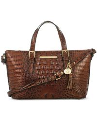 Brahmin Mini Asher Melbourne Embossed Leather Satchel - Brown