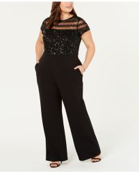 a9642f037cfa Lyst - Adrianna Papell Illusion Lace Neckline Jumpsuit in Black