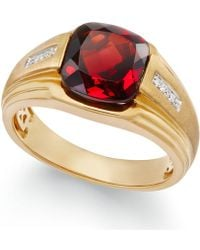 Macy's - Men's Garnet (5 Ct. T.w.) And Diamond Accent Ring In 10k Gold - Lyst