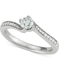 Macy's - Diamond Cluster Twist Engagement Ring (1/2 Ct. T.w.) In 14k White Gold - Lyst