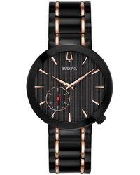 Bulova - Women's Grammy® Dress Black & Rose Gold-tone Stainless Steel Bracelet Watch 35mm - Lyst