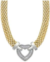 Macy's - Diamond Heart Necklace In 14k Gold Vermeil And Sterling Silver (1/10 Ct. T.w.) - Lyst