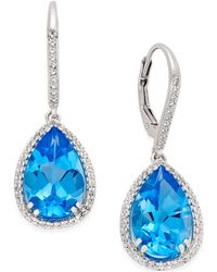 Macy's - Blue (9-1/2 Ct.t.w.) And White Topaz (1/2 Ct.t.w.) Halo Earrings In Sterling Silver - Lyst
