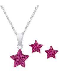 Macy's | Crystal Star Pendant Necklace & Matching Stud Earrings In Sterling Silver | Lyst