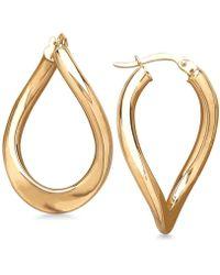 Macy's - Polished Curved Oval Hoop Earrings In 14k Gold - Lyst