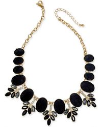 """INC International Concepts - I.n.c. Gold-tone Faux Velvet, Multi-stone & Crystal Statement Necklace, 17-1/5"""" + 3"""" Extender, Created For Macy's - Lyst"""