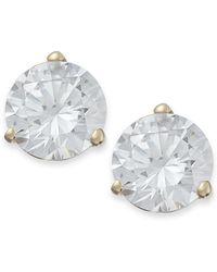 Arabella - 14k Gold Earrings, Swarovski Zirconia Stud Earrings (7mm) - Lyst